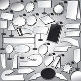 Σύνολο εικονιδίων σημαδιών βελών αυτοκόλλητων ετικεττών στάσεων ταμπλετών εμβλημάτων διακριτικών ετικετών ελεύθερη απεικόνιση δικαιώματος