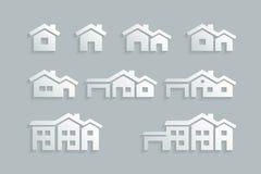 Σύνολο εικονιδίων σπιτιών διανυσματική απεικόνιση