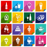 Σύνολο 16 εικονιδίων στις αυτοκόλλητες ετικέττες τετραγώνων Στοκ Εικόνα