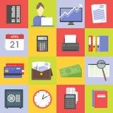 Σύνολο εικονιδίων στοιχείων χρηματοπιστωτικής υπηρεσίας Διανυσματική απεικόνιση