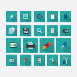 Σύνολο εικονιδίων στο θέμα του σχεδίου με τη διανυσματική σκιά πράσινη Ελεύθερη απεικόνιση δικαιώματος