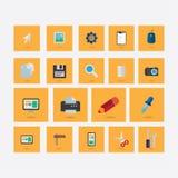 Σύνολο εικονιδίων στο θέμα του σχεδίου με τη σκιά ανοικτό πορτοκαλί στοκ εικόνα