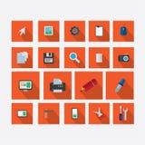 Σύνολο εικονιδίων στο θέμα του σχεδίου με το διανυσματικό πορτοκάλι σκιών Ελεύθερη απεικόνιση δικαιώματος