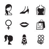 Σύνολο εικονιδίων συμβόλων γυναικών Στοκ Εικόνες