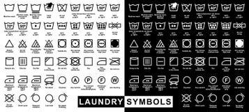 Σύνολο εικονιδίων συμβόλων πλυντηρίων διανυσματική απεικόνιση