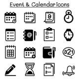 Σύνολο εικονιδίων σχεδίου, υπενθυμίσεων, ημερολογίων & γεγονότος Στοκ εικόνες με δικαίωμα ελεύθερης χρήσης