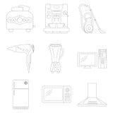 Σύνολο εικονιδίων τέχνης γραμμών εγχώριων συσκευών που ορμιέται Στοκ Φωτογραφίες