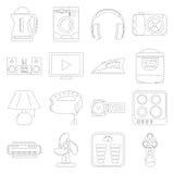 Σύνολο εικονιδίων τέχνης γραμμών εγχώριων συσκευών που ορμιέται Στοκ Εικόνες