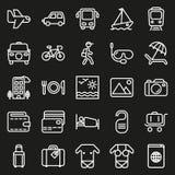 Σύνολο εικονιδίων ταξιδιού και μεταφορών Στοκ Φωτογραφίες