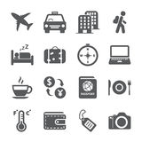 Σύνολο εικονιδίων ταξιδιού και τουρισμού, διανυσματικό eps10 Στοκ Φωτογραφίες