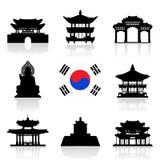 Σύνολο εικονιδίων ταξιδιού της Κορέας Στοκ φωτογραφία με δικαίωμα ελεύθερης χρήσης