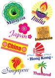 Σύνολο εικονιδίων ταξιδιού χωρών της Ασίας διανυσματική απεικόνιση