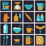 Σύνολο εικονιδίων του εξοπλισμού, των πιατικών και του μάγειρα κουζινών Στοκ Εικόνες