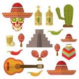 Σύνολο εικονιδίων του Μεξικού χρώματος, στοιχεία σχεδίου που απομονώνονται στο άσπρο υπόβαθρο Στοκ Φωτογραφία