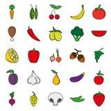 Σύνολο εικονιδίων τροφίμων Λαχανικά και κρέας χρώματος Στοκ Εικόνες