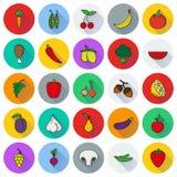 Σύνολο εικονιδίων τροφίμων Λαχανικά και κρέας Στοκ Εικόνες