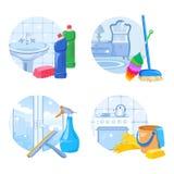 Σύνολο εικονιδίων υπηρεσιών καθαρισμού ελεύθερη απεικόνιση δικαιώματος