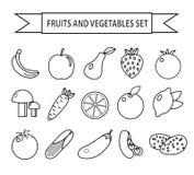 Σύνολο εικονιδίων φρούτων και λαχανικών, ύφος γραμμών Φρούτα και λαχανικά καθορισμένα απομονωμένα σε ένα άσπρο υπόβαθρο Outli φρο διανυσματική απεικόνιση