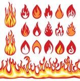 Σύνολο εικονιδίων φλογών Σύμβολα πυρκαγιάς Στοκ φωτογραφία με δικαίωμα ελεύθερης χρήσης