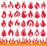 Σύνολο εικονιδίων φλογών Σύμβολα πυρκαγιάς Στοκ Εικόνες
