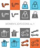 Σύνολο 1 εικονιδίων χαρών γυναικών Στοκ φωτογραφίες με δικαίωμα ελεύθερης χρήσης