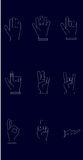 Σύνολο εικονιδίων χεριών με τις άσπρες γραμμές και το σκούρο μπλε υπόβαθρο ελεύθερη απεικόνιση δικαιώματος