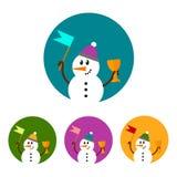 Σύνολο εικονιδίων χιονανθρώπων Στοκ φωτογραφία με δικαίωμα ελεύθερης χρήσης