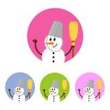 Σύνολο εικονιδίων χιονανθρώπων Στοκ Εικόνες