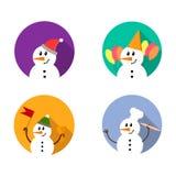 Σύνολο εικονιδίων χιονανθρώπων Στοκ Εικόνα