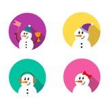 Σύνολο εικονιδίων χιονανθρώπων Στοκ φωτογραφίες με δικαίωμα ελεύθερης χρήσης