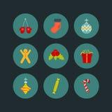 Σύνολο εικονιδίων Χριστουγέννων επίπεδου ύφους εννέα ελεύθερη απεικόνιση δικαιώματος