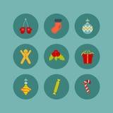 Σύνολο εικονιδίων Χριστουγέννων επίπεδου ύφους εννέα διανυσματική απεικόνιση