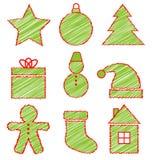 Σύνολο εικονιδίων Χριστουγέννων στο λευκό ελεύθερη απεικόνιση δικαιώματος