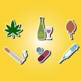 Σύνολο εικονιδίων χρώματος με τα σύμβολα του εθισμού στα ναρκωτικά ελεύθερη απεικόνιση δικαιώματος
