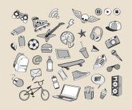 Σύνολο εικονιδίων Doodle Μονοχρωματική συρμένη χέρι συλλογή των στοιχείων doodle για το σχέδιο Σύνολο για το αγόρι ή τον έφηβο Στοκ Εικόνες