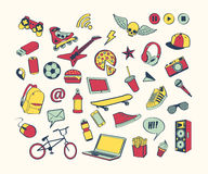 Σύνολο εικονιδίων Doodle Χρωματισμένη συρμένη χέρι συλλογή των στοιχείων doodle για το σχέδιο Σύνολο για το αγόρι ή τον έφηβο Στοκ εικόνα με δικαίωμα ελεύθερης χρήσης
