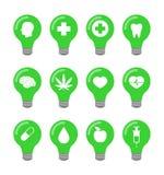 Σύνολο εικονιδίων Lightbulb Στοκ Εικόνες