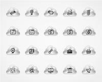 Σύνολο εικονιδίων SEO 1 στα μεταλλικά σύννεφα Στοκ Φωτογραφίες