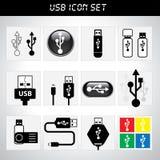 Σύνολο εικονιδίων USB Στοκ Εικόνες