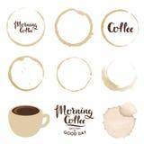 Σύνολο λεκέδων φλυτζανιών coffee cup dressing girl gown morning white ελεύθερη απεικόνιση δικαιώματος