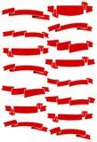 Σύνολο δεκαπέντε κόκκινων κορδελλών και εμβλημάτων κινούμενων σχεδίων για το σχέδιο Ιστού Μεγάλο στοιχείο σχεδίου που απομονώνετα Στοκ Φωτογραφίες