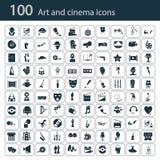 Σύνολο εκατό εικονιδίων τέχνης και κινηματογράφων Στοκ φωτογραφία με δικαίωμα ελεύθερης χρήσης
