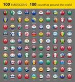 Σύνολο εκατό emoticons με τις διεθνείς σημαίες - διανυσματική απεικόνιση διανυσματική απεικόνιση