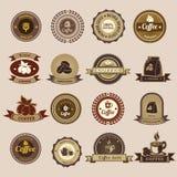 Σύνολο εκλεκτής ποιότητας αναδρομικών διακριτικών και ετικετών καφέ Ελεύθερη απεικόνιση δικαιώματος