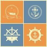 Σύνολο εκλεκτής ποιότητας αναδρομικών ναυτικών διακριτικών και ετικετών Στοκ εικόνα με δικαίωμα ελεύθερης χρήσης
