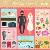 Σύνολο εκλεκτής ποιότητας γάμου, ύφους μόδας και infographic ele ταξιδιού Στοκ Εικόνα