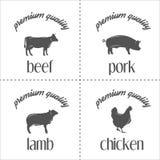 Σύνολο εκλεκτής ποιότητας γραμματοσήμων κρέατος κρεοπωλείων, λογότυπο και Στοκ Εικόνα