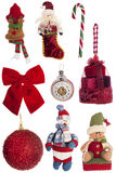 Σύνολο εκλεκτής ποιότητας εορταστικών διακοσμήσεων Χριστουγέννων που απομονώνεται στο λευκό Στοκ Εικόνα