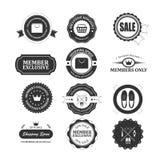 Σύνολο εκλεκτής ποιότητας διακριτικών και ετικετών ιδιότητας μέλους Απεικόνιση αποθεμάτων