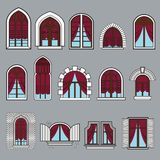 Σύνολο εκλεκτής ποιότητας παραθύρων με τις κουρτίνες Στοκ εικόνα με δικαίωμα ελεύθερης χρήσης